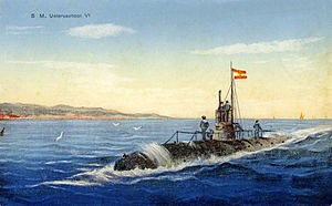 SM U-6 (Austria-Hungary) - U-5, as seen in a pre-war postcard