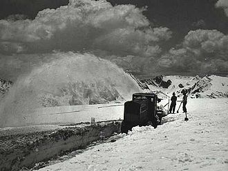 Snow removal - Snowblower in Rocky Mountain National Park, 1933