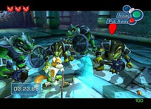 Star Fox Adventures - Fox McCloud in combat with enemies. The interface displays the player's lives, controls, and timer.