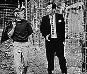 Steve McQueen on the set with the film's technical advisor, ex-POW Wally Floody, who was one of the tunnelers involved in the real Great Escape.