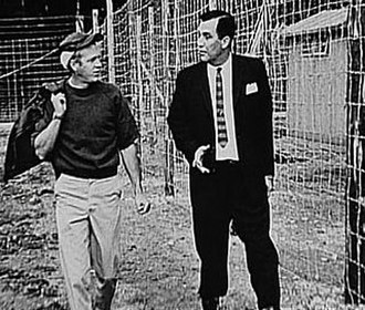 The Great Escape (film) - Steve McQueen (left) with Wally Floody, a former Canadian POW who was part of the real Great Escape and acted as a technical advisor in production of the film.