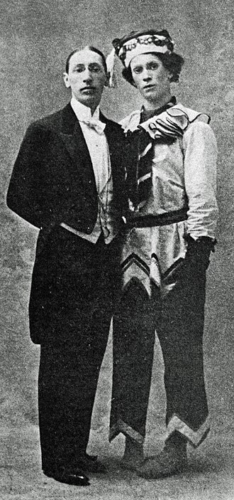 Petrushka (ballet) - Igor Stravinsky with Vaslav Nijinsky in costume for Petrushka.