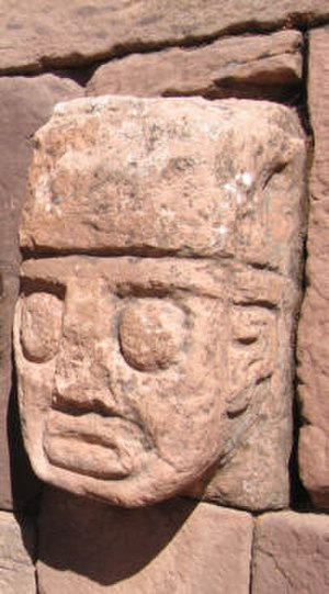 Tiwanaku empire - Closeup of a carved stone tenon-head embedded in wall of Tiwanaku's Semi-subterranean (Sunken) Temple