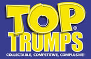 Top Trumps - Winning Moves' Top Trumps logo design with the slogan 'Collectible, Competitive, Compulsive!'. In many USA pack releases the slogan was changed to 'The Worlds Coolest Card Game!'