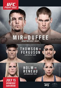 A poster or logo for UFC Fight Night: Mir vs. Duffee.