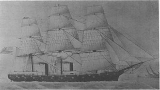 USS Tennessee (1865) - An illustration of USS Madawaska, showing the spar deck added to her in 1869.