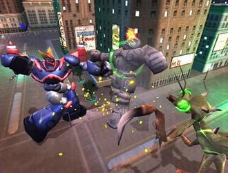 War of the Monsters - Monsters battle in a city environment.