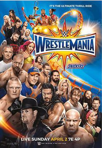 WrestleMania 33 - Promotional poster featuring various WWE wrestlers, including hosts The New Day