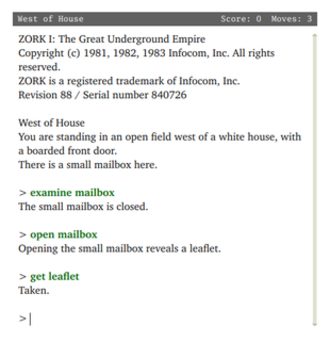 Infocom - Zork I was Infocom's first product. This screenshot of Zork I is representative of the sort of interaction a player has with Infocom's interactive fiction titles. Here it is depicted running on a modern Z-machine interpreter.