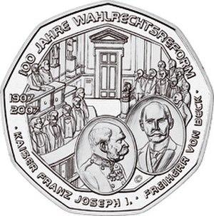Baron Max Wladimir von Beck - Austrian 100 Years of Universal Male Suffrage coin