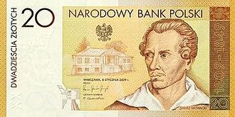 20 złotych note - The 200th birthday anniversary of Juliusz Słowacki commemorative banknote by the NBP.
