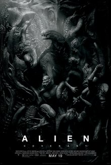 A black-and-white poster of a mass of people being surrounded/tortured by the aliens, not unlike the Renaissance depictions of Hell, with one alien at the center highlighted by a shaft of light from the upper-left.