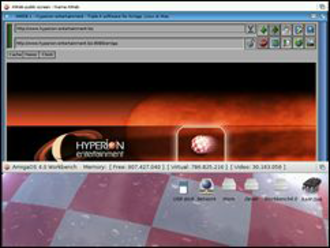 AmigaOS 4 - Workbench screen in front, web browser screen behind.