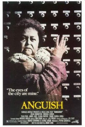 Film poster - Anguish an Zelda Rubinstein, Michael Lerner, Talia Paul, Angel Jove and Clara Pastor.