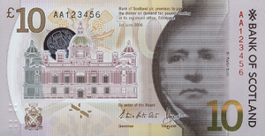 Bank of Scotland £10 note - Image: BOS Polymer £10 Front