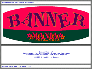 Sample screenshot of Banner Mania opening screen, showing the original authors and publisher.