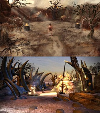 Conan (2007 video game) - The artwork in the game, such as the environment of Kush, was conceived as oil paintings (upper image) and created as digital images (lower image).