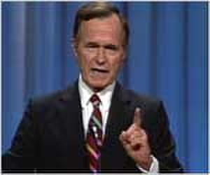 Read my lips: no new taxes - Bush delivering the famous line at the 1988 convention
