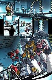 Perceptor, Bumblebee, Grimlock and Arcee meet G.I. Joe.