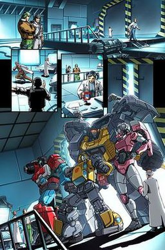 Arcee - Transformers Perceptor, Bumblebee, Grimlock, and Arcee meet Hawk of G.I. Joe.