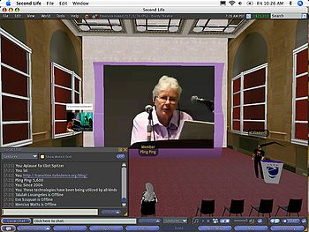 "Helen Thorington presenting at ""Programmable Media II: Networked Music,"" a Symposium at Pace Digital Gallery that was also streamed live in Second Life. Photo by Jo-Anne Green"
