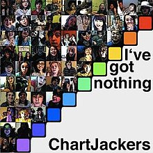 "A square divided in half diagonally, from bottom-left to top-right. The top-left half is divided into 55 smaller squares, each containing the face of a different teenager. The bottom-right half is plain white, with the words ""I've got nothing"" and ""ChartJackers"" written over it in a black font."