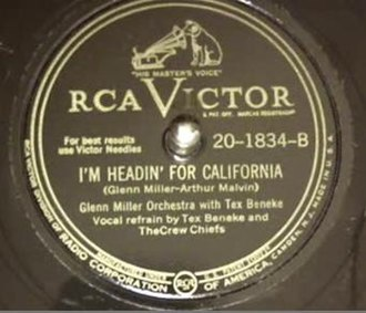 I'm Headin' for California - 1946 RCA Victor 78, 20-1834-B, Glenn Miller Orchestra with Tex Beneke.