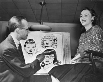 Ken Ernst - On February 5, 1947, Ken Ernst chose University of Wisconsin student Ruth Schmitt as the model for a new character in his Mary Worth comic strip.