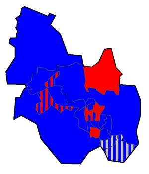 Kettering Borough Council - Kettering Borough Council Political Map, after 2003 election (Key: Red = Labour, Blue = Conservative, Grey = Independent, Stripes = Mixed Ward)