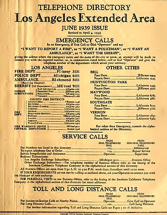 4-1-1 - Image: LA Phone Book 1938 Title page