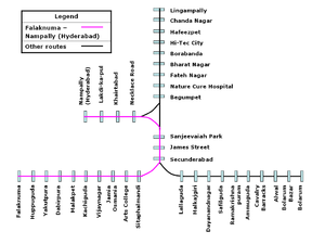 Falaknuma – Hyderabad route (Hyderabad Multi-Modal Transport System) - Route between Falaknuma and Nampally (Hyderabad)