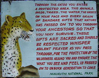 Conservation photography - Photo of Management sign encouraging wildlife conservation
