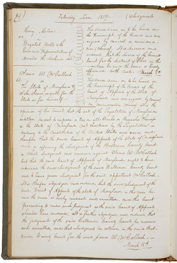 The text of the McCulloch v. Maryland decision, handed down March 6, 1819, as recorded in the minutes of the Supreme Court of the United States, in which the Court determined the separate states could not tax the federal government.