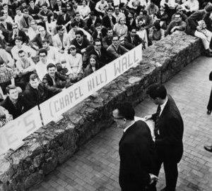 North Carolina Speaker Ban - UNC Student Body President Paul Dickson (right) standing beside Frank Wilkinson (left) before addressing the crowd on Franklin Street