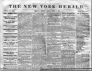 New York Herald - Cover of New York Herald on June 20, 1861, covering news of the American Civil War