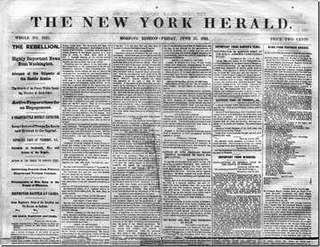 <i>New York Herald</i> newspaper of New York City
