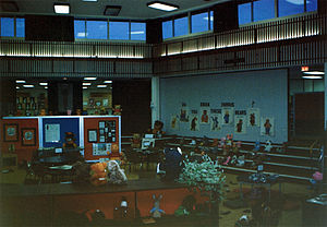 Our Lady of Wisdom Catholic School - The school library staged for an event circa 1984 to 1986.