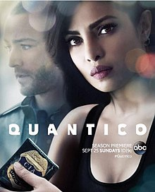 Quantico Season 2, promotional poster' depicting Priyanka Chopra holding a CIA badge and features Jake McLaughlin in the background
