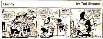 Quincy (comic strip) - Quincy strip of March 8, 1971, in which the title character gives his age. Note use of screentone effects.