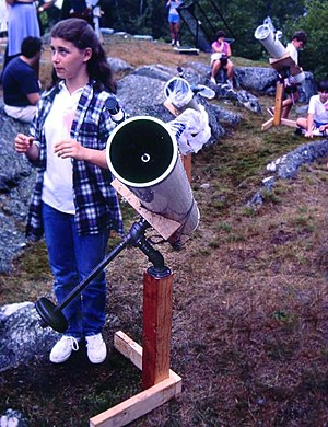 "Amateur telescope making - A 6"" (15cm) Newtonian reflector built by a school student on display at Stellafane"