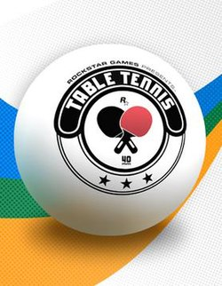 "The game's cover art. The words ""TABLE TENNIS"" (with the smaller ""ROCKSTAR GAMES PRESENTS"" above) are written inside a table tennis ball."