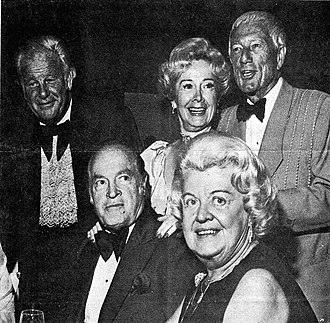 Eisenhower Medical Center - (left to right) Alex Dreier, Bob Hope, Anne T. Hill, Geraldine Dreier, Roy W. Hill at a fund raiser for Eisenhower Medical Center ca 1975