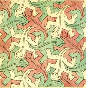 M. C. Escher - Hexagonal tessellation with animals: Study of Regular Division of the Plane with Reptiles (1939). Escher reused the design in his 1943 lithograph Reptiles.