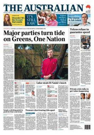 The Australian - The Australian front cover on 26 July 2017
