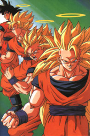 Goku - From left to right: Goku in his base form, and in his Super Saiyan, Super Saiyan 2 and Super Saiyan 3 forms.