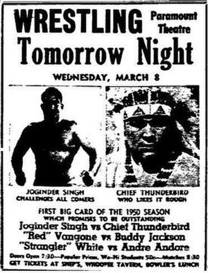 Tiger Joginder Singh - Wrestling poster featuring Tiger Joginder and Chief Thunderbird in the main event