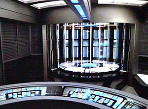 Transporter (Star Trek) - Transporter chamber and control console aboard USS Voyager