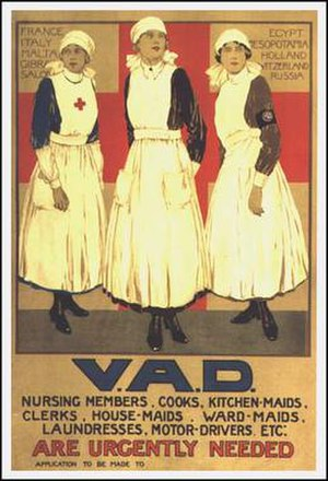 Voluntary Aid Detachment - First World War recruitment poster for Voluntary Aid Detachments