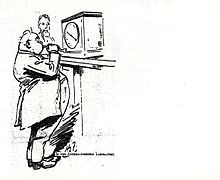 "An overweight man is standing in front of the machine (represented here by the dial) and is blowing through a tube into the machine, in order to make the display show a lower weight. There is a caption: ""In the anthro-pometric laboratory"""