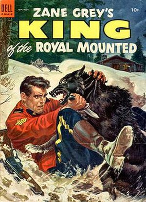 Stephen Slesinger - William George cover painting for Zane Grey's King of the Royal Mounted 13 (1953). George, who studied with Norman Rockwell, also did covers for Zane Grey novels.